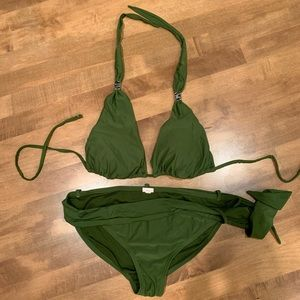 Xhilaration Green Halter Swimsuit